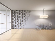 3Ds render interior. 3Ds rendered interior with hexagon wall and wooden floor Stock Photos