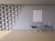 3Ds render interior. 3Ds rendered interior with hexagon wall and wooden floor Stock Photo
