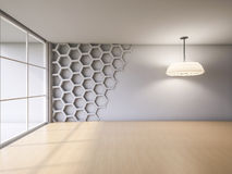3Ds render interior. 3Ds rendered interior with hexagon wall and wooden floor which have light from hanging lamps Royalty Free Stock Photography