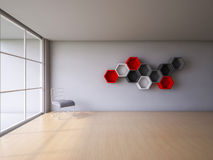 3Ds render interior. 3Ds rendered interior with hexagon wall and wooden floor which have steel wire chair on the floor and red, white and dark gray hexagon Royalty Free Stock Image