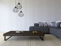 3ds rendering white sofa and wooden table. 3ds rendering image of black sofa and wooden table place on timber floor which have white wooden wall as background Stock Photography
