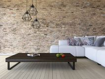 3ds rendering white sofa and wooden table. 3ds rendering image of white sofa and wooden table place on timber floor which have brick wall as background.  Modern Stock Photo
