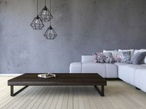 3ds rendering white sofa and wooden table. 3ds rendering image of white sofa and wooden table place on timber floor which have cracked concrete wall as Stock Images