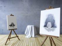 3Ds rendeu a imagem dos tripés para pintar Fotografia de Stock