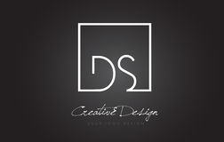 DS Square Frame Letter Logo Design with Black and White Colors. Stock Image