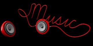3ds van het gebiedspreker en koord typografisch die Muziekontwerp op zwarte wordt geïsoleerd Stock Foto