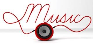 3ds van het gebiedspreker en koord typografisch Muziekontwerp op wit Stock Afbeelding