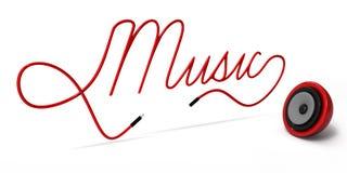 3ds van het gebiedspreker en koord typografisch Muziekontwerp op wit Royalty-vrije Stock Afbeelding