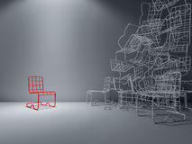 3Ds wire chair. 3Ds rendered image of red and white color steel wire chair Royalty Free Stock Photography