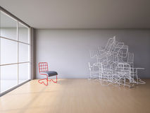 3Ds wire chair. 3Ds rendered image of red and white color steel wire chair Stock Photography