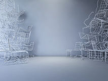 3Ds wire chair Royalty Free Stock Photo