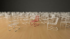 3Ds wire chair. 3Ds rendered image of red and white color steel wire chair, Selective focus on red chair Royalty Free Stock Image
