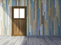 3Ds wooden door. 3Ds rendered image of wooden door and old colorful wooden wall and wooden floor Royalty Free Stock Image