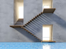 3ds wooden stair. 3Ds rendered image of wooden stair and cracked concrete wall. shadow on the wall over the swiming pool Stock Photo