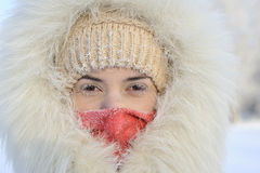 The girl in a fur coat has frozen in the winter Stock Photo