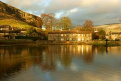 DSC656. Kilnsey Trout Lakes And  Kilnsey Crag. Stock Photo