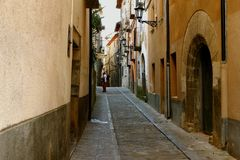 Narrow streets of Boltanya, spanish countryside royalty free stock images