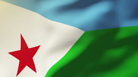 Dschibuti fahnenschwenkend im Wind Schleifungssonne stock abbildung