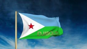 Dschibuti-Flaggenschieberart mit Titel Herein wellenartig bewegen vektor abbildung