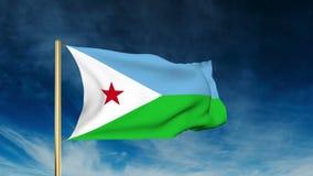 Dschibuti-Flaggenschieberart Wellenartig bewegen in den Wind vektor abbildung