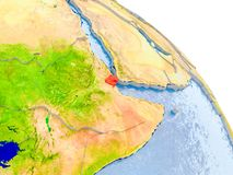 Dschibuti im roten Modell von Erde Stockfoto