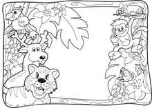 Dschungel-Einladung Lineart Stockbild