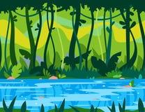 Dschungel-Fluss-Spiel-Hintergrund lizenzfreie abbildung
