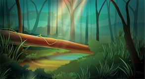 Dschungel-Hintergrund-Lichteffekt-Nachtmodus vektor abbildung