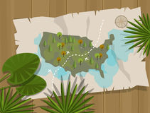 Dschungelkartenamerika-Karikaturabenteuer Stockfotos