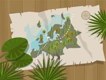 Dschungelkarteneuropa-Karikaturabenteuer Stockfoto