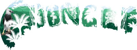 Dschungelwaldillustration witn Harpye Regenwald des Vektors tropische lizenzfreie abbildung