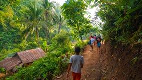 Dschungelwanderer auf Spur lizenzfreies stockbild