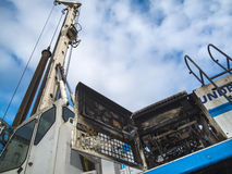 DSCN1362_Burned-out drilling pile driver Stock Images