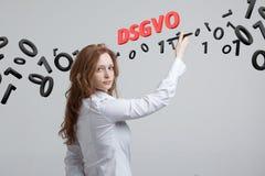 DSGVO, GDPR的德语版本,概念图象 一般数据保护章程,个人数据的保护 年轻 图库摄影