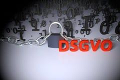 DSGVO, немецкая версия GDPR, иллюстрация концепции Общая регулировка защиты данных, защита личных данных Стоковое Изображение