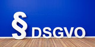 DSGVO Basic Data Protection Regulation Concept with paragraph symbol on blue wall - 3D Rendering Royalty Free Stock Photos