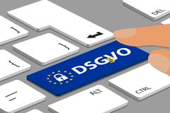 DSGVO Button With Lock And Stars On Keyboard With Finger - Vector Illustration Stock Photos