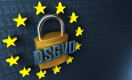 DSGVO Datenschutz-Grundverordnung, немецкий текст для регулировки предохранения от первичных данных GDPR Стоковое Изображение RF