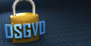 DSGVO Datenschutz-Grundverordnung, немецкий текст для регулировки предохранения от первичных данных GDPR Стоковое Изображение