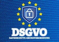 DSGVO Datenschutz Grundverordnung ilustracja z binarnym kodem - niemiec dla GDPR Ogólnych dane ochrony Europejskiego przepisu - Obrazy Royalty Free