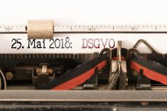 DSGVO EU Datenschutz Grundverordnung, General Data protection Regulation and commencement date written on vintage typewriter. DSGVO EU Datenschutz stock photography