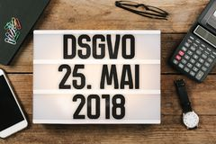 German General Data Protection Regulation DSGVO new law in 201. DSGVO German for new regulation effective May 2018 in European Union on general data protection/ Royalty Free Stock Images