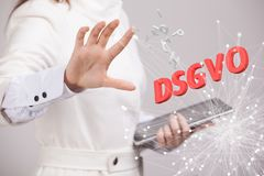 DSGVO, german version of GDPR, concept image. General Data Protection Regulation, protection of personal data. Young. DSGVO, german version of GDPR, concept Royalty Free Stock Image
