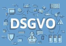 DSGVO, german version of GDPR, vector concept illustration. General Data Protection Regulation, the protection of. DSGVO, german version of GDPR, concept vector Royalty Free Stock Images