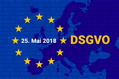 Dsgvo - niemiec Datenschutz-Grundverordnung GDPR - Ogólnych dane ochrony przepis również zwrócić corel ilustracji wektora Fotografia Stock