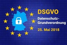 Dsgvo - niemiec Datenschutz-Grundverordnung GDPR - Ogólnych dane ochrony przepis również zwrócić corel ilustracji wektora Zdjęcia Royalty Free