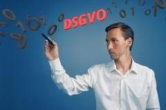 DSGVO, niemiecka wersja GDPR, pojęcie wizerunek Ogólnych dane ochrony przepis, ochrona osobiści dane człowieku zdjęcia stock