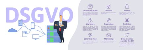 DSGVO, version allemande de GDPR : Datenschutz Grundverordnung illustration de vecteur de concept Protection des données générale Photos stock