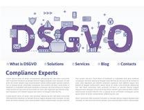 DSGVO, versione tedesca di GDPR: Datenschutz Grundverordnung Illustrazione di concetto Regolamento generale di protezione dei dat illustrazione di stock