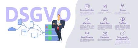 DSGVO, versione tedesca di GDPR: Datenschutz Grundverordnung illustrazione di vettore di concetto Protezione dei dati generale illustrazione di stock